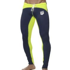 ES Collection Men's Running Pant. Color: Navy-Lime.