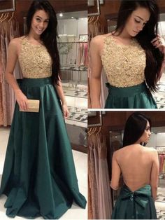 Applique Bodice Prom Dresses,Long Satin Prom Ball Gown,Evening Dresses