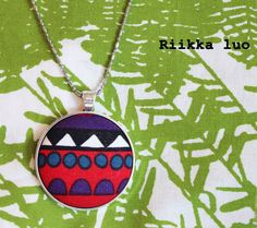 Button necklace Unique cover button jewelry by RiikkaLuoDesigns Button Necklace, Pendant Necklace, Marimekko Fabric, Unique Necklaces, Covered Buttons, Fabric Covered, Scandinavian Design, Fabric Design, How To Make