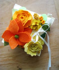 Citrus Wool Felt Flower Ring Pillow  Yellow Orange by HeyMiemie, $65.00