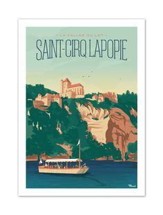 €25 . Affiche Illustration Originale Marcel SAINT-CIRQ LAPOPIE . Papier 350g/m² Couché Mat