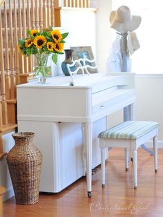 Chalk Paint® decorative paint by Annie Sloan. Piano in Old White with Clear Wax by Centsational Girl!