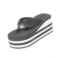 3414954a813 Women s Spring Summer Casual Wedge Heel Black Red 3in-3 3 4in. Heeled Flip  FlopsFlip Flop SandalsShoes ...