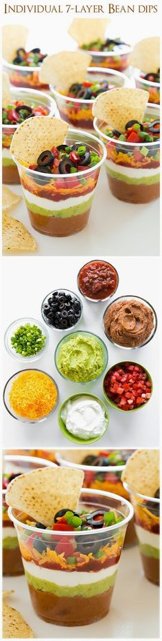 Individual 7 Layer Bean Dips - good bye sloppy scooping and double dippers! LOVE these! Individual 7 Layer Bean Dips - good bye sloppy scooping and double dippers! LOVE these! Snacks Für Party, Appetizers For Party, Appetizer Recipes, Snack Recipes, Cooking Recipes, Bean Dip Recipes, 7 Layer Bean Dip, Layered Bean Dip, 7 Layer Dip Recipe