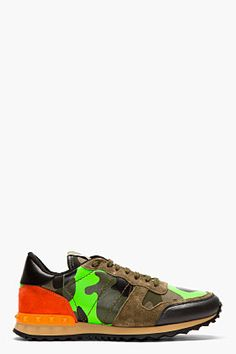 VALENTINO Green camouflage studded sneakers