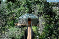 A night in this tree house near Austin is an absolutely unforgettable experience. The tree house is nestled high in an ancient cypress tree and boasts incredible views of the surrounding nature. Check out this tree house and try glamping near Austin, Texas, for an original vacation idea.