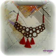 κολιέ ξύλινο μοτίφ wooden necklace