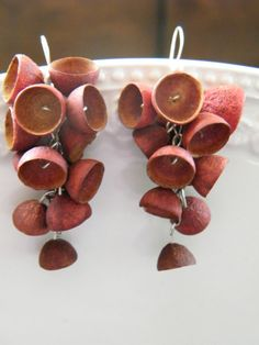 Seed pod earrings. Orange-red Rowan berry color by LinBerSa