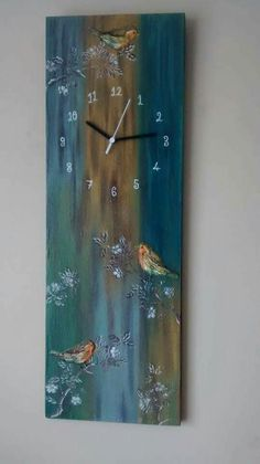 Reloj Clock Painting, Clock Art, Diy Clock, Painting On Wood, Wood Clocks, Diy Arts And Crafts, Fun Crafts, Pallet Art, Wooden Crafts