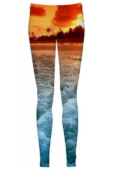 "$38 If you are cold, it is good to have the ""Exotic"" around. The heat from the tropical seas will keep you warm and follow you wherever you go. The ""Exotic"" is a combination of extreme heat and cool waves. Wear these leggings to enjoy the summer all-year-long."