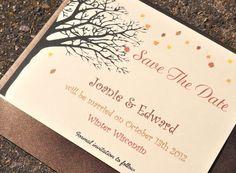 Fall Save the Dates Wedding Invitations Autumn by alittlemorerosie, $1.50