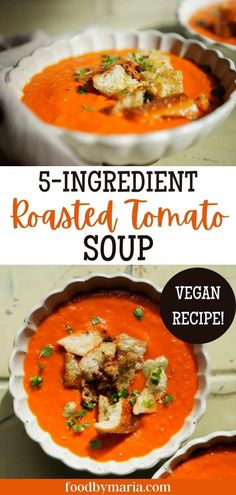 This homemade tomato soup with fresh tomatoes is a great dish to make for lunch or dinner. Best part? This roasted tomato soup only needs 5 ingredients! Click here to start cooking! Best Soup Recipes, Best Vegan Recipes, Healthy Soup Recipes, Fall Recipes, Easy Vegan Soup, Vegan Soups, Roasted Tomato Soup, Roasted Tomatoes, Vegan Casserole