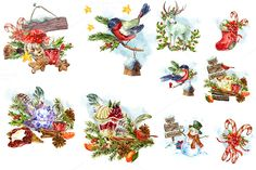 Watercolor Christmas Collection by Depiano on Creative Market