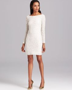 Aidan mattox Cocktail Dress Long Sleeve Sequin in White (Ivory/Silver) | Lyst
