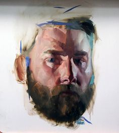 "Benjamin Björklund - ""Selfportrait"", painting, oil on wood, 17.3 x 17.3 x 0.4 in."