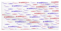 """""""red And Blue Fish"""" Bath Sheet featuring the digital art Red And Blue Fish Pattern by Scott Hervieux"""