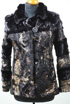 1908886a43563 Golden Black Persian Lamb   Mink Fur Jacket