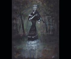Song by a Ghost Original Painting Forest Dark by mygoodbabushka