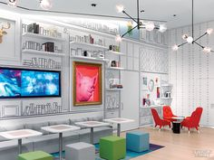 5 Firms Design Viacom's Midtown NYC Headquarters   Projects   Interior Design. Staff Café by Gensler.