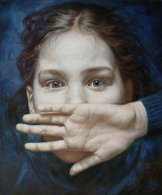 Afraid child by an Unknown artist - Style:Hyperrealism