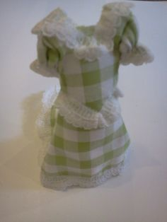 Dolls House Miniature Green Check Bridesmaid Dress - Over 10,000 other miniature dollshouse items in stock! Visit www.thedollshousestore.co.uk