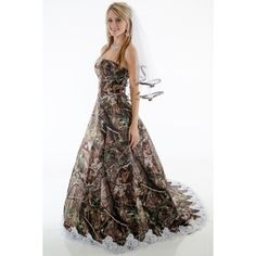 e815aa78dc Strapless A-line Camo Dress with Train edged with lace. Sizes Pictured in  Realtree APG with White Alencon Lace. Available in all camo patterns. Camo  Formal