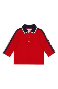 a7bec0ac9 Infant Boy's Gucci Long Sleeve Stripe Cotton Piqué Polo Shirt, Size 3-6M -  Blue