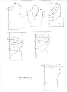 Hoe verander je een basic patroon van een T-shirt in een shirt met watervalhals... | Mode maken doe je zo