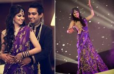 #weddingsutrap2w A Purple and Gold Lehenga for the sangeet of Real Bride Benita of WeddingSutra.