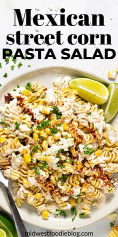 20 minutes · Vegetarian · Serves 10 · This Mexican Street Corn Pasta Salad is loaded with corn, cotija and a deliciously tangy, creamy dressing that is the stuff dreams are made of. It's quick and easy to throw together and is made up of… Mexican Food Recipes, Vegetarian Recipes, Cooking Recipes, Healthy Recipes, Vegetarian Pasta Salad, Vegetarian Cooking, Kitchen Recipes, Side Dish Recipes, Dinner Recipes