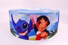 "3"" Wide Lilo and Stitch Printed on Grosgrain Cheer Bow Ribbon - Thermal printed on white polyester grosgrain ribbon Hard to find 3 inch wide cheer bow size! . Make your own cheer bows and save money $"