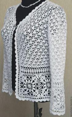 Gilet Crochet, Crochet Wool, Crochet Cardigan Pattern, Crochet Jacket, Crochet Blouse, Thread Crochet, Easy Crochet, Crochet Patterns, Crochet Fashion