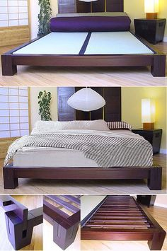 Platform Beds - Low Platform Beds, Japanese Solid Wood Bed Frame  Note: no fasteners, just simple high quality interlocking pieces.