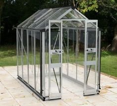 Buy the new Eden Birdlip Silver Greenhouse in Silver with Horticultural Glass. Buy online now with free UK delivery from Greenhouse Stores.
