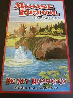 BIG SKY BREWING Promo Poster MOOSE DROOL Brown Ale craft beer brewery MONTANA