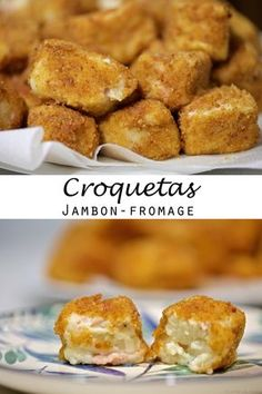 Spanish ham and cheese croquetas (+ HD video) – Car stickers Desserts Espagnols, Ham And Cheese, Fresh Fruit, Healthy Choices, Entrees, Delish, Food And Drink, Appetizers, Healthy Recipes