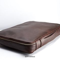 Grey Leather Travel Laptop Bag Men iPad Macbook Portfolio | Etsy Laptop Carrying Case, Laptop Bag, Tech Gifts, Dark Brown Leather, Medium Bags, Leather Working, Zip Around Wallet, Bag Men, Macbook