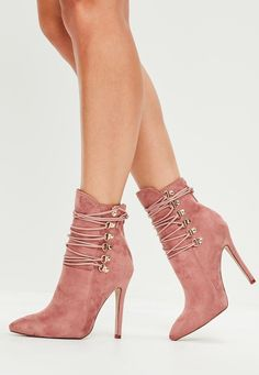 Missguided - Pink Pointed Toe Ankle Boots