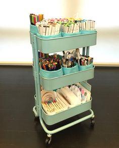 Ikea Raskog cart filled with Colouring items (copics, pencils, etc.)