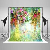 Wish | 5x7ft(150x220cm) Flowers Photography Backdrops Fantasy Green Spring Background for Wedding Photo Studio No Wrinkles