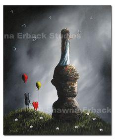 ART PRINT by ERBACK surreal fantasy dreamscape balloons cat heart girl rocks bubbles. $20.00, via Etsy.