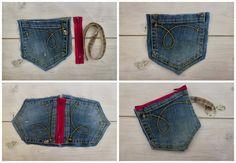Denim pouch from jean pocket