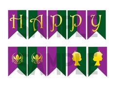 Frozen Birthday Banner- Coronation Day Flags! INSTANT DOWNLOAD! on Etsy, $5.00