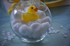 Centerpiece: fish bowl, cotton balls, mini rubber ducky {Ebay}