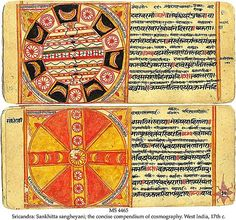 Sankhitta Sangheyani Cosmography - Jain cosmology - Wikipedia, the free encyclopedia - Work of Art showing maps and diagrams as per Jain Cosmography from 17th century CE Manuscript of 12th century Jain text Sankhitta Sangheyan