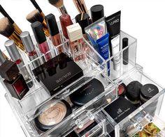 Acrylic makeup organizer - dorm room accessories dorm room a Dorm Room Organization, Makeup Organization, Dorm Room Accessories, Dorm Room Necessities, Makeup Art, Eyeshadow, Eye Shadow, Pop Art Makeup, Eye Shadows
