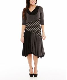 Look at this #zulilyfind! Miss Nikky Gray & Black Patchwork Pleated Dress by Miss Nikky #zulilyfinds