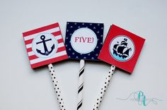 Ahoy me Mateys! Pirate Party Cupcake Toppers - Instant Download by Pepper Avenue