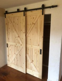 Single Track Bypass © Barn Door Hardware Kit with Track allows two doors to hang and bypass/overlap on one track! (NOTE: doors are . Bypass Barn Door Hardware, Doors Interior, Garage Door Design, Barn, House, Barn Door Kit, Home, Doors, Garage Door Types