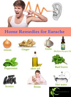 Stop ear pain with homemade ear drops, Natural ways for Earache Relief. Fast home remedies to treat earaches in children, adults, tips to cure ear infection Ear Pain Remedies, Home Remedies For Earache, Natural Home Remedies, Homeopathic Remedies, Ear Infection Symptoms, Ear Infection Remedy, Essential Oils For Earache, Pain In The Ear